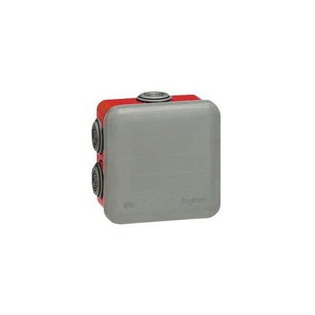 LEGRAND - BOITE CARRÉE 80X80X45 ÉTANCHE PLEXO GRIS/ROUGE - EMBOUT (7) -IP55/IK07- 960°C