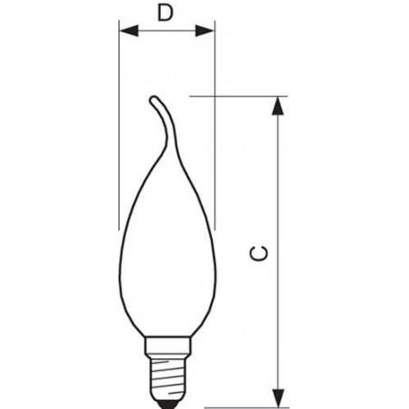 PHILIPS - CLA LEDCANDLE ND 2.3-25W E14 WW BA35 CL