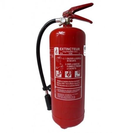 Extincteur poudre polyvalente 6kg-Classe de feu ABCE-Pression permanente